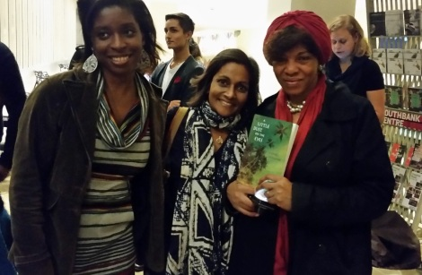 Prize Advocate Irenosen Okojie, 2012 Prizewinner Minoli Salgado and Prize Ambassador Margaret Busby with a copy of Minoli's debut novel 'A Little Dust on the Eyes' (Photo courtesy of Emma D'Costa)